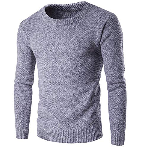 Chic Tricot Mieuid En À Pull Claro Manches Longues Gris Hommes 7YAw0