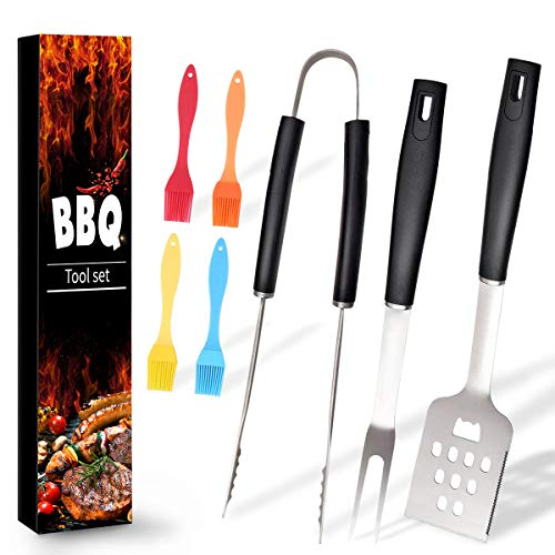 Ranphykx BBQ Grill Tool Set. 7pcs Barbecue Grilling Accessories, Includes – Stainless Steel Spatula, Fork, Tongs…