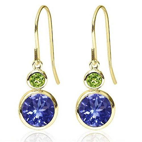 Gem Stone King 2.04 Ct Round Blue Tanzanite Green Peridot 14K Yellow Gold Earrings ()