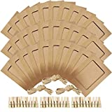 NOBBEE Paper Photo Frame 5x7 Kraft Paper Picture Frames 30 PCS DIY Cardboard Photo Frames with Wood Clips and Jute Twine (Brown)