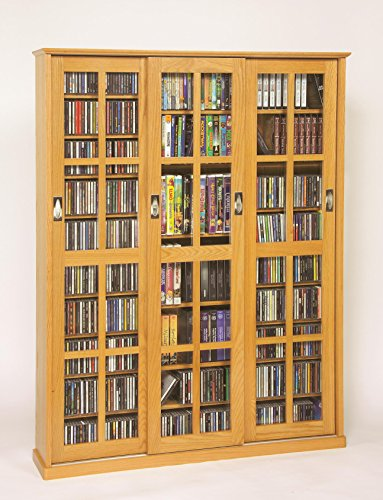 Leslie Dame Triple CD/DVD Wall Rack Media Storage in - Cd Dvd Glass / Door
