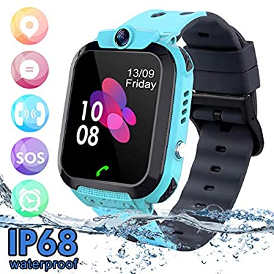 Kids Waterproof Smart Watch Phone, SZBXD LBS/GPS Tracker Touchscreen Smartwatch Games SOS Alarm Clock Camera Smart Watch Christmas Birthday Gifts for School Boy Girls