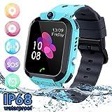SZBXD Kids Waterproof Smart Watch Phone, LBS/GPS Tracker Touchscreen Smartwatch Games SOS Alarm Clock Camera Smart Watch Christmas Birthday Gifts for School Boy Girls (Blue)