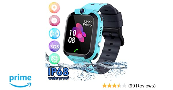 SZBXD Kids Waterproof Smart Watch Phone, LBS/GPS Tracker Touchscreen Smartwatch Games SOS Alarm Clock Camera Smart Watch Christmas Birthday Gifts for ...