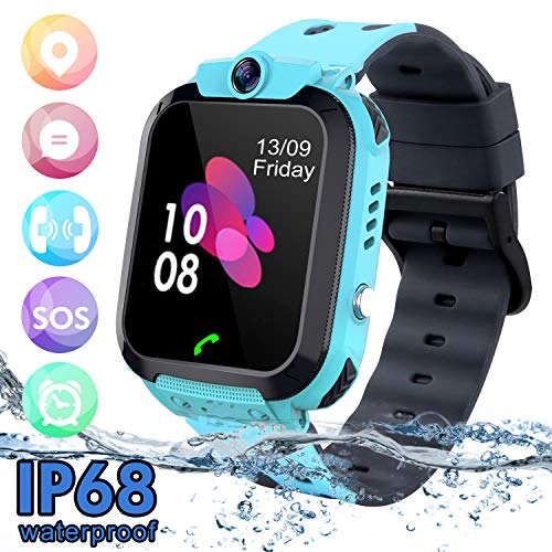 SZBXD Kids Waterproof Smart Watch Phone, LBS/GPS Tracker Touchscreen Smartwatch Games SOS Alarm Clock Camera Smart Watch Christmas Birthday Gifts for School Boy Girls (Blue) (Best Emergency Phone For Kids)