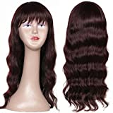 Ms Taj Body Wave Wigs for Black Women Peruvian Virgin Human Hair Body Wave Wigs 150% Density Human Hair Wigs with Bang None Lace 20 inches Wine Red Color (20 inches wine red wig)