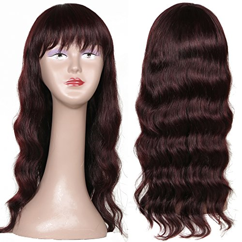 Ms Taj Body Wave Wigs for Black Women Peruvian Virgin Human Hair Body Wave Wigs 150% Density Human Hair Wigs with Bang None Lace 20 inches Wine Red Color (20 inches wine red wig) by MsTaj