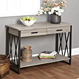 Contemporary Rectangle Livingroom Seneca Rustic Reclaimed Wood Coffee Sofa Table Black & Gray Finish