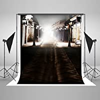 Photography Background, Kate 5×7Ft Black Bokeh Backdrop Street House Cotton Computer Printed No Wrinkles Photo Background for Photographers
