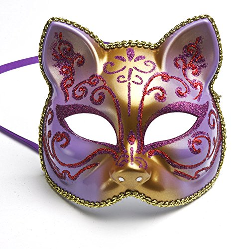 CIShop Colorful Painting Cat Face Mask for Children and Women Masquerade Mask Halloween Mask (Purple) (Face Painting For Cats Halloween)