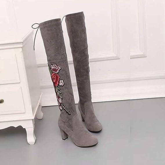 ❤ Zapatos de Mujer Tacones Altos, Rose Bordar Botas Altas de Muslo Sobre la Bota de Arranque de Rodilla Absolute: Amazon.es: Ropa y accesorios