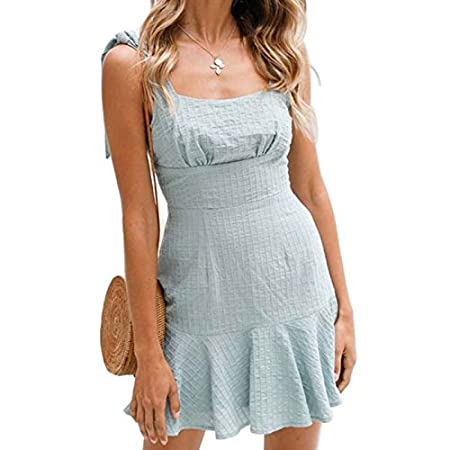 Thobu Women Dresses On Sale Women Dresses For Special Occasions Elegant Spaghetti Straps Round Neck Sleeveless Summer Beach Swing Dress Blue Small