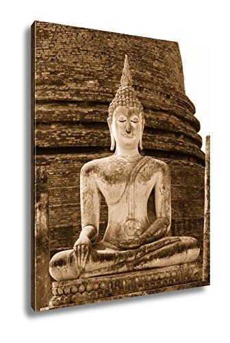 Ashley Canvas Ancient Ancient Buddha Statues In The Ancient Thai Capital Of Ayutthaya In The, Wall Art Home Decor, Ready to Hang, Sepia, 20x16, AG5264821 by Ashley Canvas