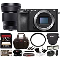 Sony Alpha a6500 Digital Camera with 2.95-Inch LCD w/ Sigma 30mm F1.4 Contemporary DC DN Lens Sony E Bundle