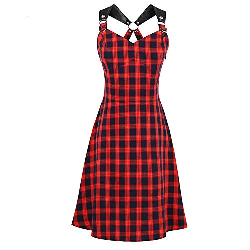 Sexy Panyan Women Summer Dark Red Vintage Plaid A-Line Spaghetti Strap Slim Retro Punk Goth Dresses as Picture -
