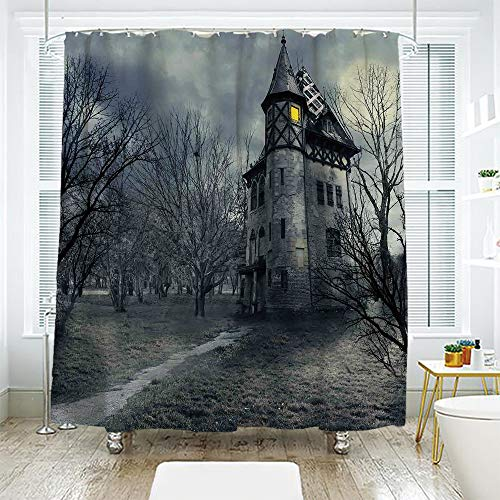 scocici DIY Bathroom Curtain Personality Privacy Convenience,Halloween,Halloween Design with Gothic Haunted House Dark Sky and Leafless Trees Spooky Theme Decorative,Teal,78.7