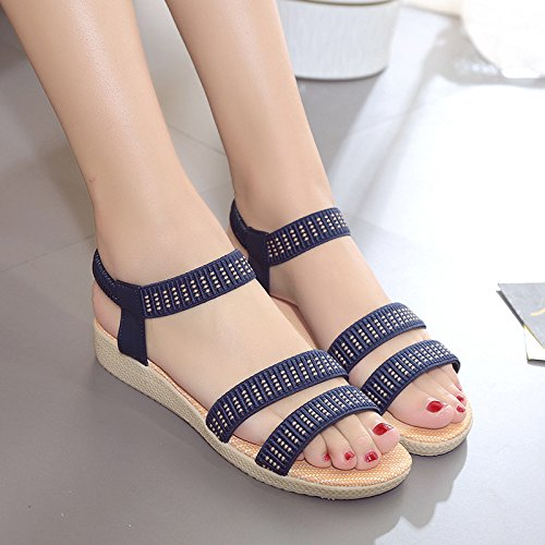 women's sandals WHLShoes size casual elastic 2 large Sandals Summer wild toed open Women's Beige flat comfortable Wedge band cnt7tXOR