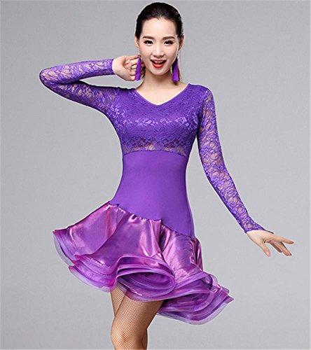 colori Dress Woman Dance Altri Professional Viola Latin Long Sleeve Peiwen wY87qnxC