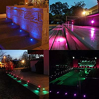 separation shoes 04b98 9d630 QACA 20pcs Low Voltage LED Deck Lights Kits Multi-Color RGB Stainless Steel  Waterproof Outdoor Yard Garden Recessed Wood Decoration Lamps Landscape ...