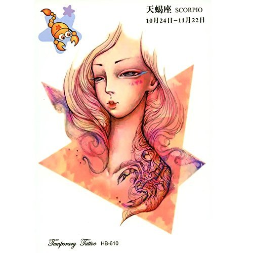 Constellations Chinese zodiac sign SCORPIO tribal TEMPORARY TATTOO scorpion Harajuku kawaii CELESTIAL body art metallic flash FAKE TATTOO costume cosplay WATER (Tribal Scorpion Tattoo)