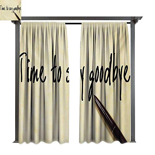 bybyhome Outdoor Curtain Going Away Party Time to Say Goodbye Hand Writing Ink Pen and Paper Artwork Print W84 xL96 Suitable for Front Porch,pergola,Cabana,Covered Patio ()