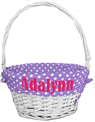 Personalized Easter Basket for Boys or Girls ( Purple Polka Dots - Personalized ) White Wicker Basket with Folding Handle and Monogrammed with Child's Name in Embroidery