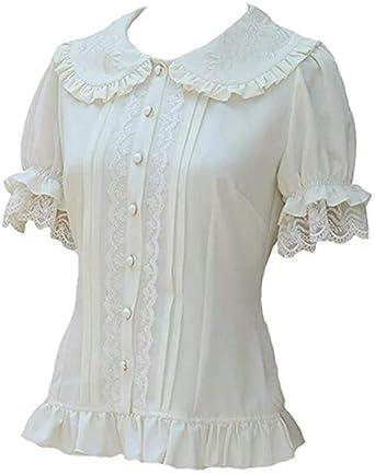 ed09a1159f2 TanQiang Women s Sweet Lolita Shirt Short Puff Sleeve Flower Embroidered  Peter Pan Collar White Ruffle Blouse