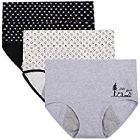 Innersy Women's 3 Pack Ultra Soft Postpartum Menstrual Period Protective Cotton Panties Underwear (Love Yourself First)