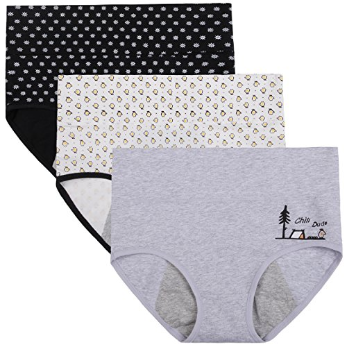 - Innersy Women's 3 Pack Ultra Soft Postpartum Menstrual Period Protective Cotton Panties Underwear (Love Yourself First) (M, Flower Print 3)