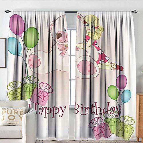 (NUOMANAN Insulated Sunshade Curtain Kids Birthday,Baby Girl Birthday with Teddy Bears Toys Balloons Surprise Boxes Dolls Image,Pale Pink,Darkening and Thermal Insulating Draperies 60