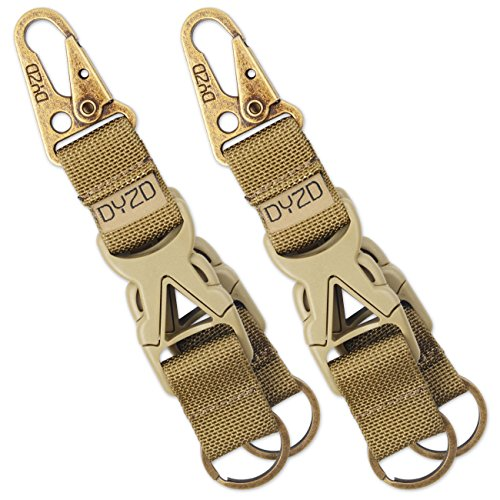 DYZD Tactical Gear Keychain Carabiner Survival 100% Nylon Webbing Key Chain Tactical Key Holder Quick Release Buckle with Key ring (Pack of 2 Khaki)