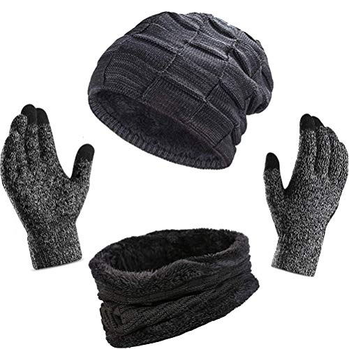WINTERCODE 3Pcs Winter Beanie Hat + Scarf + Touch Screen Gloves, Warm Knit Hat Thick Fleece Lined Winter Hat & Scarf, Stretchy Knit Beanie Cap Elastic Neck Warmer Snugly for Men Women -