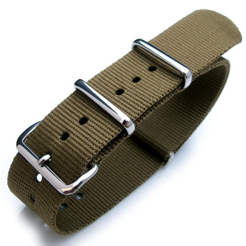 Nato Watch Strap, 20mm, Heat Sealed G10 Nylon, Polished Buckle, Military Green