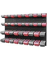 Set stapelbox wandrek 1158 x 780 mm - opslagsysteem 42 stuks dozen met deksel - opbergrek opbergdozen opbergkast opbergkast