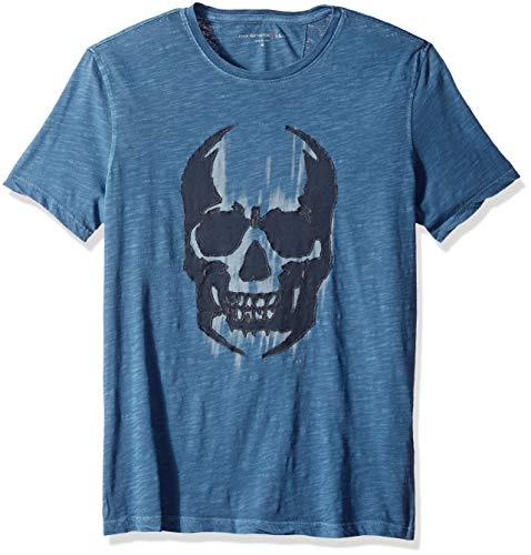 John Varvatos Men's Faded Skull T-Shirt, Pacific Blue, S