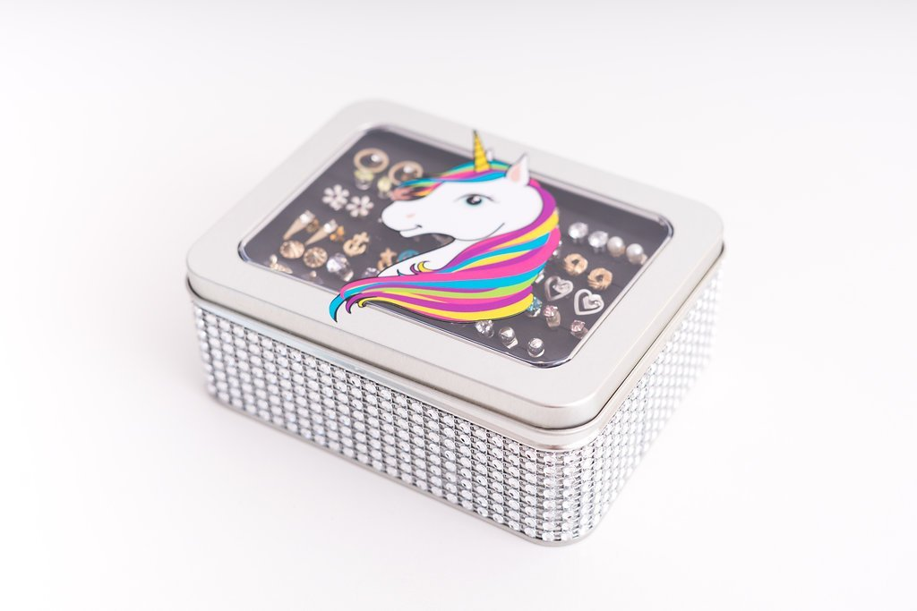 Unicorn Jewelry Box - Silver Jeweled Ribbon - Tin Earring Holder