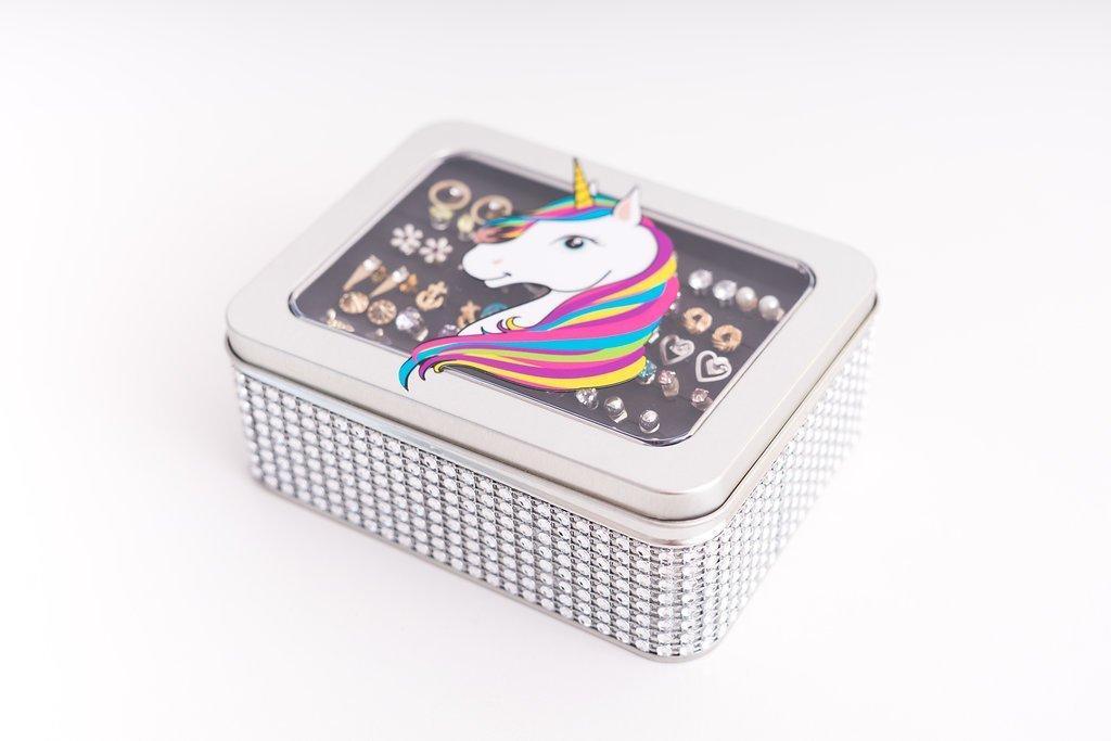 Unicorn Jewelry Box - Silver Jeweled Ribbon - Tin Earring Holder