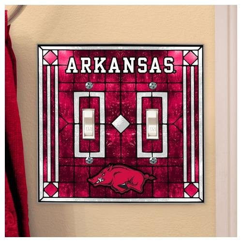 Arkansas Razorbacks Art Glass (Arkansas Razorback Light Switch Double Art Glass Cover)