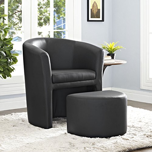Modway Divulge Faux Leather Accent Arm Lounge Chair and Ottoman 2-Piece Set in Black