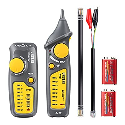 URCERI WT01 Cable Tester Wire Tracker RJ11 RJ45 Line Finder for Network Cable Collation, Telephone Line Test, Continuity Checking, Built-in Flashlight, Dark Gray and Yellow