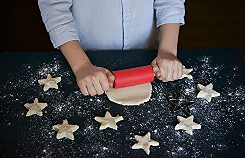 Honglida 9 Inch Silicone Rolling Pin for Kids, Non-stick Surface and Comfortable Wood Handles(Pack of 2) by HONGLIDA (Image #3)