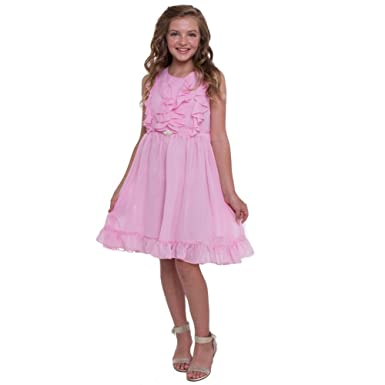 a11890414 Amazon.com  Petite Adele Big Girls Bubble Gum Tiered Chiffon Ruffled ...