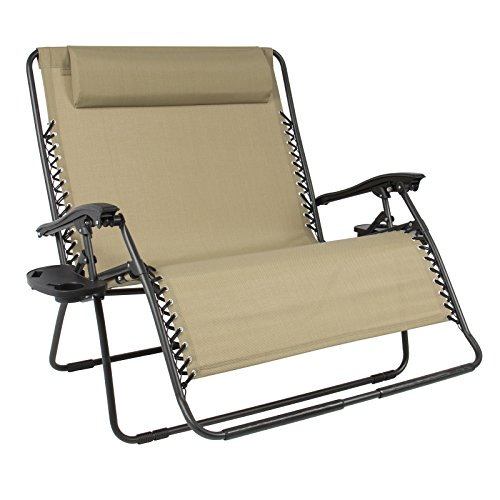 LTL Shop Huge Folding 2 Person Gravity Chair Double Wide Patio Lounger with 2 cup holders (Bag Newmarket)