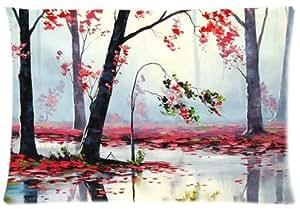Suave Fundas De Almohada Decorativa Caso tamaño estándar 20x 30pulgadas de otoño Río árboles manta twin-sides impresión