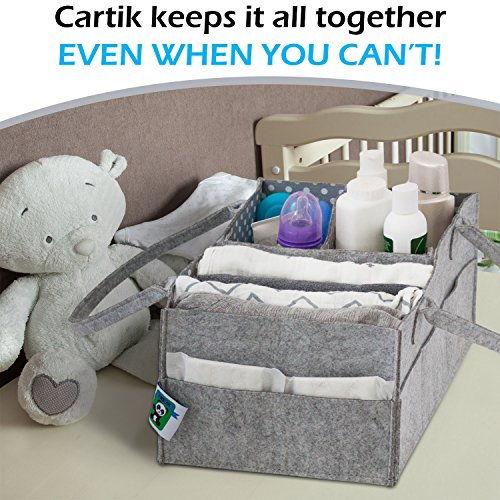 Baby Diaper Caddy Organizer Set of 2 – Nursery Basket with Handles – Baby Diaper Storage and Changing Table Organizer 2-Pack – Perfect Baby Shower Gift Basket for Newborn Girls and Boys by Cartik by Cartik (Image #1)