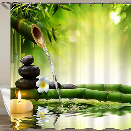 QCWN Zen Garden Bamboo and Water Theme Bathroom Decor View for Bathroom Polyester Mildew Resistant Shower Curtain (1, 70 x 70)