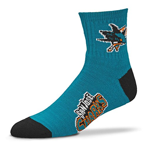 NHL San Jose Sharks Men's Team Quarter Socks, Large (San Jose Sharks Hockey Socks)