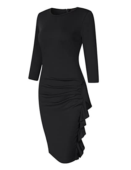3f97e1c6eacb HiQueen Women's Retro Ruffles Wrap Ruched Slim Work Business Cocktail Bodycon  Dress at Amazon Women's Clothing store: