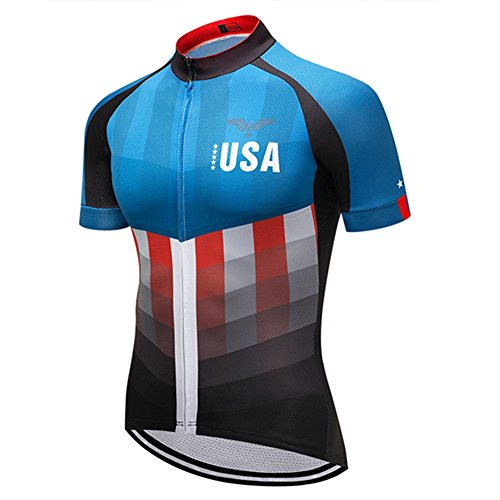 Weimostar American Patriot USA Flag Men's Cycling Jersey Short Sleeve Biking Shirts Breathable with Pokects Size L