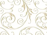 Pack Of 1, 40''X100' Jewel Swirl Frosted Gold Classic Print Cello Rolls 1.0 Mil Made In USA